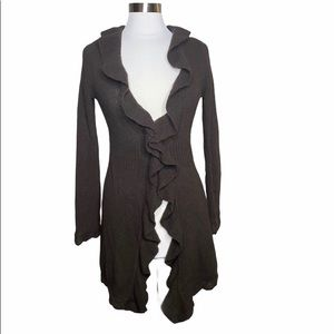 Cynthia Rowley Ruffle Front Brown Sweater Duster